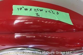 "(2) Wall Mount Reproduction Red Seeburg Teardrop Jukebox Speakers; 17T x 11.5W x 5.5""D"