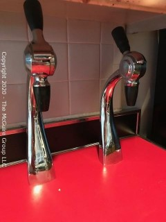 "(2) Art Deco Vintage Chrome Goose Neck Soda Fountain Spigots and Metal Cabinet; 24""W x 25D x 36""T."