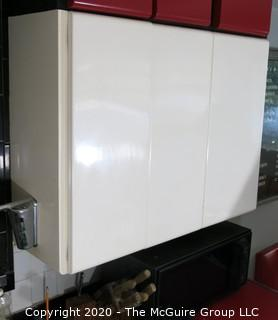 Vintage Three (1 single, 1 double) Door Metal White Enamel Painted Kitchen Cabinets. Part of Kitchen Cabinet Set.  39W x 30T x 12D