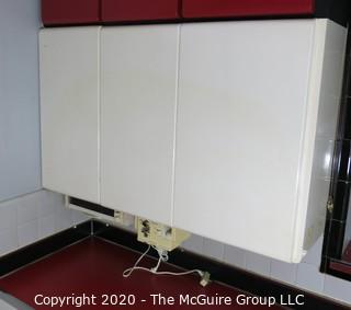 Vintage Three (1 single, 1 double) Door Metal White Enamel Painted Kitchen Cabinets. Part of Kitchen Cabinet Set. 48W x 30T x 12D