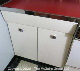 """Vintage Single Drawer over Double Door Metal White Enamel Painted Kitchen Cabinets. Part of Kitchen Cabinet Set. 30W x 22D x 35""""T"""