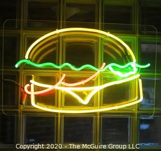 """Hamburger"" Neon Light Art by Artist Martha ""Marty"" King. 31"" x 19"". Art. Vintage."