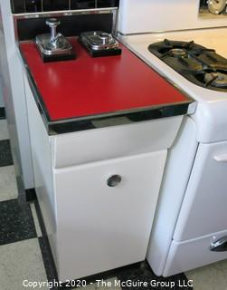 Pair of Vintage Chrome Soda Fountain Dispensers Mounted in Painted Kitchen Cabinet with Red Laminate Top. 17W x 25D x 36T