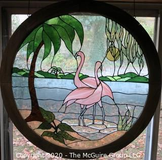 "Art: Stained Glass: circular ""Pink Flamingoes"". 41.5"" diameter"