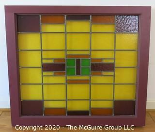 "Art Deco Stained Glass Window in Mounted Wall Case with Backlight.  Measures approximately 36""W x 31.5""T x 4.25"" D"