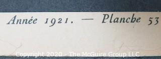 """1921 Framed Art Deco Pochoir Fashion Print Andre Edouard Marty, Gazette du Bon Ton """"La Voute Pnuematique"""". Outside Dimensions 10.5 x 13""""; Image Size 6 x 8"""""""
