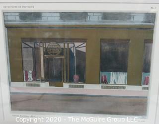 """Framed Art Deco Pochoir Colored Lithograph of Tailleurs, Rue Albert, Paris, by P. Figarol, in """"Devantures de Boutiques"""" portfolio of Louis-Pierre Sezille, Paris, 1927. Outside Dimensions 13 x 15.5""""; Image Size 8 x 10"""""""