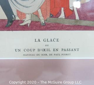 """1922 Framed Art Deco Pochoir Fashion Print Andre Edouard Marty, Gazette du Bon Ton """"Un Coup D'Oeil En Passant"""". Outside Dimensions 10.5 x 13""""; Image Size 5.75 x 8.25"""""""
