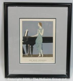 "1921 Framed Art Deco Pochoir Fashion Print Andre Edouard Marty, Gazette du Bon Ton ""Con Molto Sentimento"". Outside Dimensions 11.5 x 13""; Image Size 6"" x 7.75"""