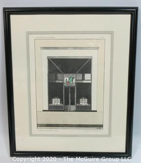 "Framed Art Deco Pochoir Colored Lithograph ""Devantures de Boutiques"" attributed to M. Meslin (circa 1920's) Outside Dimensions 13.5 x 15.75""; Image Size 8.5 x 10.5"""