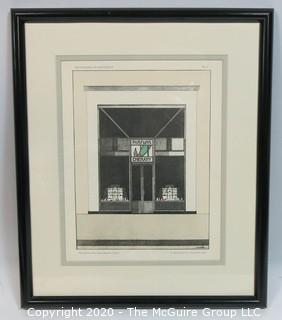 "Framed Art Deco Pochoir Colored Lithograph ""Devantures de Boutiques"" attributed to M. Meslin (circa 1920's) Outside Dimensions 13.5 x 15.75""; Image Size 8.5 x 10.5"""