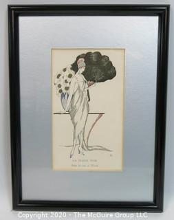 "Framed Art Deco Pochoir Print: ""Le Fleur d'Or""; Outside Dimensions 11 x 14.5""; Image Size 5 x 8.5"" Glass Framed. Vintage. Print."