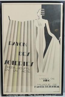 """Rayon des Soieries, Opera Bouffe en un Acte,"" Framed Art Deco Pochoir Lithograph Poster by Maurice Dufrene; circa 1930.  32"" x 48"""