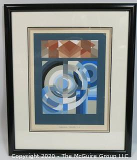 "Vintage Framed Art Deco Pochoir Print RELIAS #3 by Edouard Benedictus. Outside Dimensions 19.5 x 24""; Image Size 12 x 15.5"""