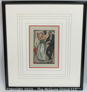 "Framed Under Glass Art Deco Pochoir Print, Unsigned by Artist. Outside Dimensions 19 x 21""; Image Size 7.25 x 10"""