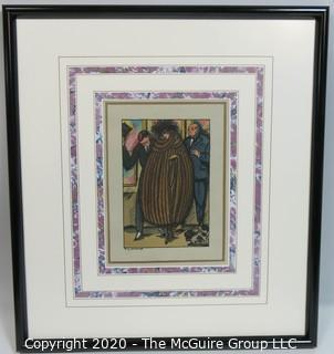 Framed Under Glass Art Deco Pochoir Signed Print; Artist Guy Arnoux.