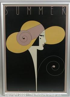 "Framed Art Deco Pochoir Print entitled ""Summer"" by Theo Dimson; 22"" x 30""  Art"