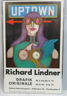 """Framed Richard Lindner Pop Art Poster Uptown for the Grafik Original 1971; 21 x 33"""""""