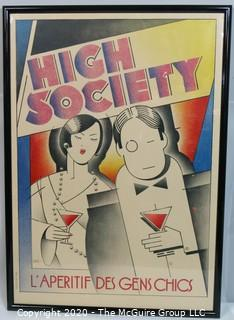 "Framed Under Glass Art Deco Poster of ""High Society"" by Sane, 1928; 39.5"" x 28"""
