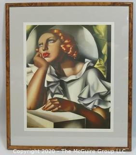 """Red Haired Woman""; Art Deco Framed Print by Tamara Lempika.  Outside Dimensions 22 x 26""; Image Size 16 x 19"""