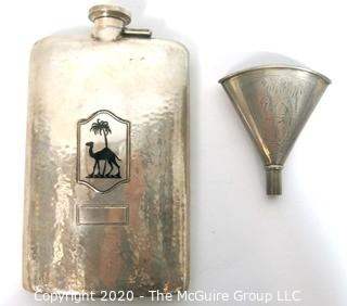 "Sterling Silver Hammered Flask and Funnel, Both with Camel Decoration.  The flask measures approximately 7"" long and 4 1/2"" wide.  251g."