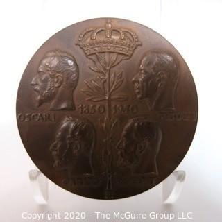 """Heavy Bronze Medal from Sweden - Kungliga Myntet 100 Ar Pa Kungsholmen, 1950, 2 11/32""""; 93.6g"""