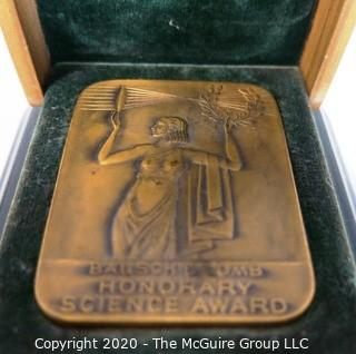 1939 Art Deco Bausch & Lomb Heavy Bronze Honorary Science Award in Presentation Case, Inscribed on back to Winner