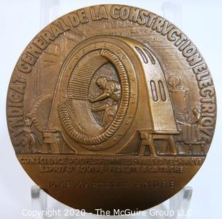 """Art Deco Heavy Bronze French Medal - Syndicat Général de la Construction Electrique, Designed by Ray Pelletier; 2 20/32"""";   164 grams"""