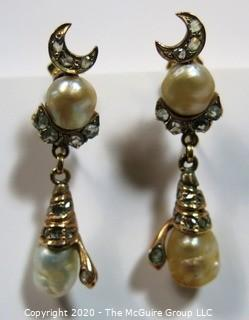 Antique Victorian 18 kt Gold (marked 750) with Freshwater Pearls & Gemstones Screw Back Drop Earrings.  Features crescent moon and snake, both encrusted in clear stones, possibly diamonds (some flourescence).
