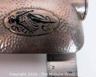 Hammered Sterling Silver 12 oz Kap Kup Flask Personalized with Initials SER and Dancer Etched in Bottom Corner.