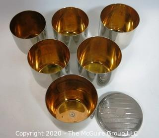 Set Of 6 Silver Plate Nesting Cups with Gold Plated Interior and Lid