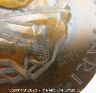 """1958 Art Deco Bronze Medal for Squibb 100 Year Centennial made by Medallic Art Co NY, Designed by Sidney Waugh.  3""""; 189 grams"""