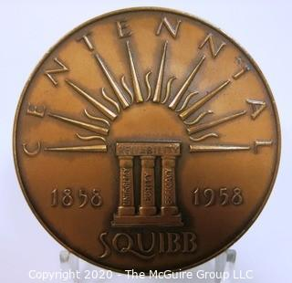 "1958 Art Deco Bronze Medal for Squibb 100 Year Centennial made by Medallic Art Co NY, Designed by Sidney Waugh.  3""; 189 grams"