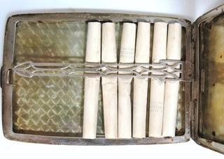 Antique Sterling Silver Cigarette Case with Vintage Cigarettes, Players Medium Navy Cut.
