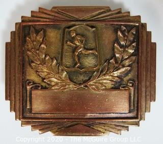 "Art Deco Copper Belt Buckle with Runner and Laurel Wreath; 2"" wide"