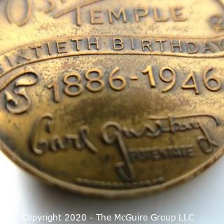 "1946 Medal from the Osiris Temple 60th Birthday Wheeling, West Virginia; 1 11/32""; 16 grams"