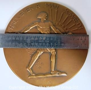 "1932 Art Deco Bronze Medal - Whatever A Man Soweth, That Shall He Also Reap. Medallice Art Company, NY, Designed by Lee Lawrie; 7.5mm diameter x 2 28/32""; 185 grams."