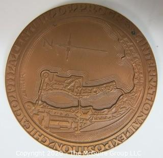 """1933 Art Deco Bronze Medal for the Chicago Century of Progress Exposition by Medallic Art Company NY, Designed by Emil R. Zettler; 1 15/32""""; 23 grams"""