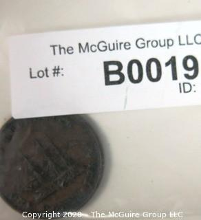 1843 New Brunswick Large One Penny Token; 3.4mm diameter
