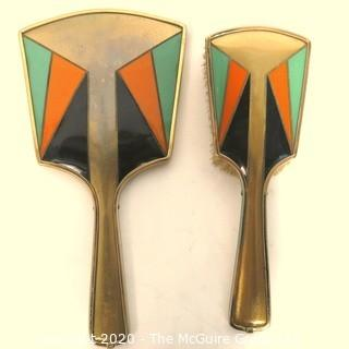 Art Deco Brass with Enamel Geometric Design Brush & Mirror Dresser Vanity Set