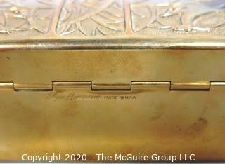 Art Deco Brass Trinket Box Elgin American Featuring Leaping Gazelles