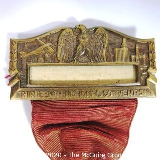 1933 Chicago American Legion Auxiliary Art Deco Style Medal with Ribbon - 13th National Convention