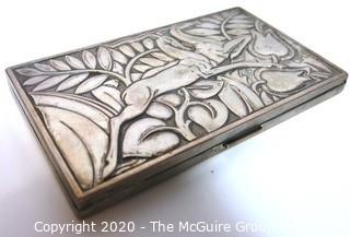 "Art Deco Sterling Silver Box by Evans Featuring Repousse Gazelles and Foliage with Initials of Artist; 5 3/8"" x 3 1/8""; 213g"