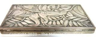 """Art Deco Sterling Silver Box by Evans Featuring Repousse Gazelles and Foliage with Initials of Artist; 5 3/8"""" x 3 1/8""""; 213g"""