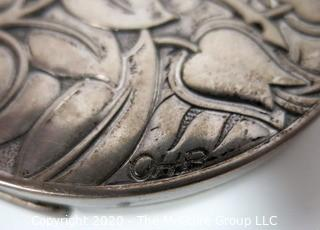 "Art Deco Sterling Silver Compact by Evans Featuring Repousse Gazelles and Foliage with Initials of Artist; 3"" diameter; 91g including mirror"