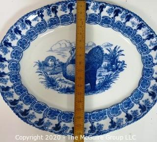 "Large Fine Porcelain Blue Transferware Turkey Platter by Wedgwood of England.  Measures approximately 23"" x 19""."