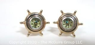 Vintage Men's Gold Tone Cufflinks with Ships Wheel and Compass.  In Box.