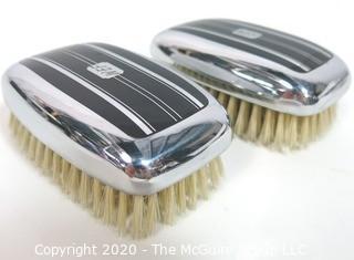 Art Deco Silver with Black Enamel Decoration Gentlemen's Brush Set