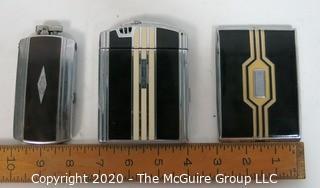 (3) Silverplate Art Deco Enamel Decoration Cigarette Cases and Lighters