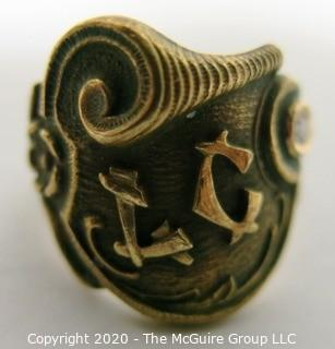 """14kt Gold Ornate Victorian Signet Ring with Inset Diamond Accent and the Initials """"LC"""".  Approximately size 7; 10g"""